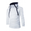 Chic Hoodie Solid Colored Zip Embellishment Drawstring Slim Fitted Long Sleeve Hoodie for Men