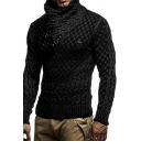 Mens Popular Shawl Collar Buckle Embellishment Solid Color Chunky Knit Pullover Sweater