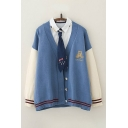 Leisure Girls Contrasted Cartoon Embroidery Striped Long Sleeve Button-up Relaxed Fitted Knit Cardigan