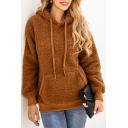 Women's Plain Long Sleeves Pocket Pullover Fluffy Hoodie