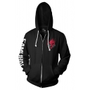 Chic Hoodie Angry Devil Letter Printed Zip up Long Sleeve Pocket Drawstring Fitted Graphic Hooded Sweatshirt for Men
