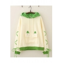 Cute Womens Hoodie Ears Applique Drawstring Lace-up Contrast Trim Loose Fitted Long Sleeve Hoodie