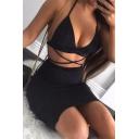 Womens Glitter Fashion Plain Black Strappy Halter Hollow Out Detail Night Club Mini Sheath Dress