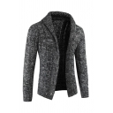 Mens Solid Color Lapel Collar Long Sleeve Button Fly Cable Knit Cardigan Coat
