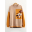 Popular Womens Colorblock Cartoon Character Pattern Long Sleeve Round Neck Pullover Regular Fitted Sweater