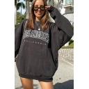 Cozy Womens Letter Printed Pocket Pullover Long Sleeve Round Neck Oversized Hoodie in Black