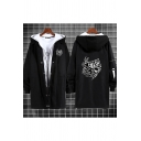 Mens Cool Coat Letter One for All Printed Fake Two Pieces Button up Long-sleeved Hooded Fitted Longline Coat