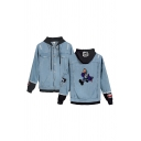 Popular Girls Cartoon Character Number Pattern Button up Pocket Raw Edge Long Sleeve Hooded Regular Fitted Denim Jacket