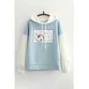 Dressy Womens Colorblock Dog Musical Note Pattern Long Sleeve Pullover Drawstring Regular Fitted Hoodie