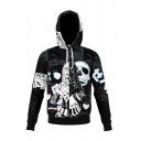 Popular 3D Hooded Sweatshirt Cartoon Figure Skull Pattern Pocket Drawstring Long Sleeve Fitted Hoodie for Men