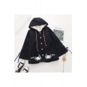 Creative Girls Coat Flower Embroidery Lace-up Sherpa Liner Button up Long Sleeve Relaxed Fit Hooded Coat