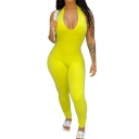 New Trendy Women Sexy Yellow Backless Sleeveless Skinny Fit Jumpsuit Catsuit