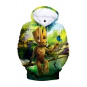3D Character Printed Long Sleeve Green Casual Drawstring Hoodie