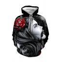 Cool Rose Skull Figure 3D Printed Long Sleeve Sport Casual Black Hoodie