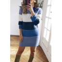 Womens Trendy Colorblock Long Sleeve Crew Neck Knitted Mini Shift Sweater Dress