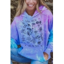 Cool Womens Tie Dye Floral Letter Printed Pocket Long Sleeve Pullover Drawstring Graphic Regular Fitted Hooded Sweatshirt in Blue