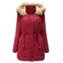 Trendy Ladies' Long Sleeve Hooded Button Front Zipper Detail Drawstring Fuzzy Trim Loose Plain Midi Parka Coat