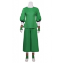 Cool Color Block High Neck 3/4 Sleeve Asymmetrical Hem Slim Fitted Coat & Wide Leg Pants Casual Co-ords with Belt