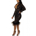 Womens Sexy Halter Plunged V-Neck Long Sleeve Fur-Trimmed Midi Bodycon Sequined Nightclub Dress