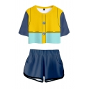 Chic Girls 3D Suit Pattern Short Sleeve Crew Neck Fitted Crop Tee Top & Relaxed Shorts