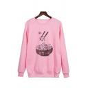 Funny Cartoon Bowl Chopsticks Print Long Sleeve Pullover Sweatshirt