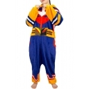Womens Jumpsuits Cute Color Block Pattern Zipper Hooded Loose Fitted Long Sleeve Relaxed Fit Jumpsuits