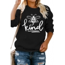 Casual Girls Sweatshirt Bee Letter Kind Printed Loose Fitted Long Sleeve Graphic Pullover Sweatshirt