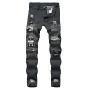 Hip Hop Style Mens Cool Embroidery Letter Badge Patched Distressed Slim Fit Black Ripped Jeans