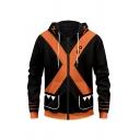 Fashionable Black Hooded Sweatshirt Colorblock Zipper up Pocket Drawstring Regular Fitted Hooded Sweatshirt for Men
