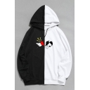 Mens Stylish Hoodie Broken Heart Colorblock Pattern Drawstring Fitted Long Sleeve Hoodie