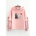 Cute Hoodie Cat Japanese Letter Pattern Drawstring Faux Twinset Regular Fitted Long Sleeve Hooded Sweatshirt for Women