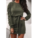 Girls Chic Plain Ruched Long Sleeve Crew Neck Tied Waist Mini Fitted Sweatshirt Dress