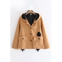 Cool Chicken Pattern Button up Flap Pocket Long Sleeve Oversize Hooded Coat for Ladies