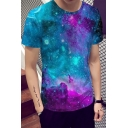 Chic 3D Galaxy Pattern Short Sleeve Round Neck Casual Summer Tee