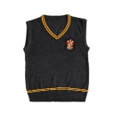 Harry Potter Cosplay University Badge Patched Striped Trim V-Neck Sweater Vest