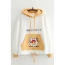 Chic Hoodie Cartoon Animal Japanese Letter Printed Drawstring Long Sleeve Regular Fitted Hooded Sweatshirt for Women
