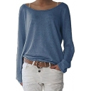 Long Sleeve Boat Neck Casual Spring Women's Plain Tee