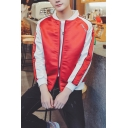 New Trendy Wing Embroidery Long Sleeve Stand-Collar Zip Up Slim Fit Casual Red Bomber Jacket