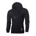 Mens Hoodie Casual Lattice Jacquard Pleated-Shoulder Drawstring Long Sleeve Slim Fit Hooded Sweatshirt