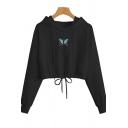 Cool Womens Hoodie Butterfly Pattern Drawstring Hem Regular Fitted Long Sleeve Cropped Hoodie