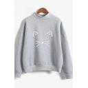 Novelty Womens Pullover Sweatshirt Cat Face Pattern Stand Collar Long Sleeve Loose Fit Pullover Sweatshirt