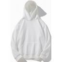 Mens Sweatshirt Unique Solid Color Thick Rib Hem Drawstring Kangaroo Pocket Loose Fit Long Sleeve Hooded Sweatshirt