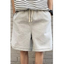 Mens Shorts Trendy Solid Color Side Split Hem Knee-Length Regular Fitted Drawstring Waist Sweat Shorts