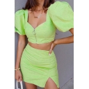 Unique Womens Co-ords Plain Zipper Front Short Puff Sleeve Sweetheart Neck Cropped Tee Slim Fitted Mini Split Hem Skirt Co-ords