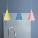Macaron Cone Shade Ceiling Light Iron 1 Bulb Kitchen Dinette Pendant Light Kit in Pink/Blue/Grey with Wood Tip