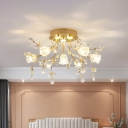 Petal LED Semi Mount Ceiling Light Modernity Clear Crystal 7 Lights Gold Lighting Fixture with Sputnik Design