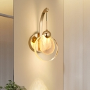 Circular Wall Lighting Fixture Modernity Clear Crystal Dining Room LED Wall Sconce in Gold