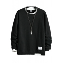 Mens Sweatshirt Fashionable Contrast Ribbed Trim Label Patch Thickened Long Sleeve Regular Fit Crew Neck Pullover Sweatshirt