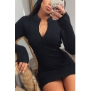 Novelty Womens Dress Plain Rib Knitted Zipper Detail Mini Slim Fitted Round Neck Long Sleeve Bodycon Dress