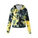 Womens Hoodie Casual Tie Dye Zipper Fly Long Sleeve Slim Fit Hooded Sweatshirt with Kangaroo Pocket